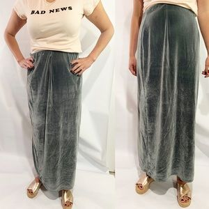 Double D Ranch velvet olive green maxi skirt